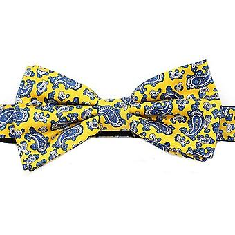 David Van Hagen Edwardian Small Paisley Silk Bow Tie - Yellow