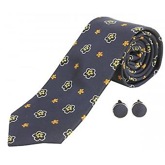 Knightsbridge Neckwear Flower Tie and Cufflinks Set - Navy/Yellow