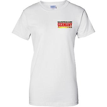 Tyskland Grunge landet navn flagget effekt - damer brystet Design t-skjorte