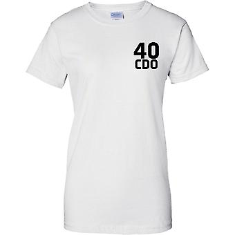 Licenseret MOD - Royal Marines 40 Cdo - tekst - damer brystet Design T-Shirt