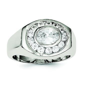 Sterling zilveren solide gepolijst Open back Mens Cubic Zirkonia Ring - Ringmaat: 9 t/m 11