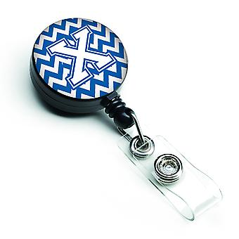 Letter X Chevron Blue and White Retractable Badge Reel