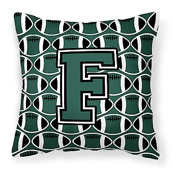 Letter F Football Green and White Fabric Decorative Pillow