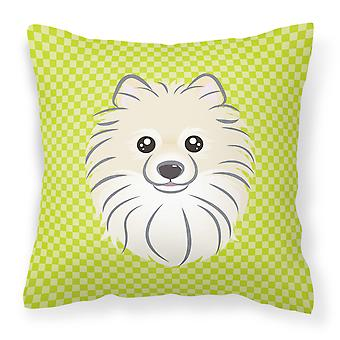 Checkerboard Lime Green Pomeranian Canvas Fabric Decorative Pillow