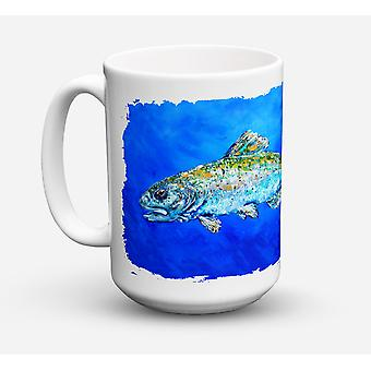 Fish Headed Downstream Dishwasher Safe Microwavable Ceramic Coffee Mug 15 ounce