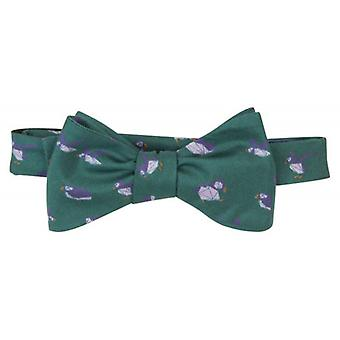 40 Colori Puffins Printed Silk Butterfly Bow Tie - Pine Green