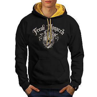 Freak Crazy Men Black (Gold Hood)Contrast Hoodie | Wellcoda
