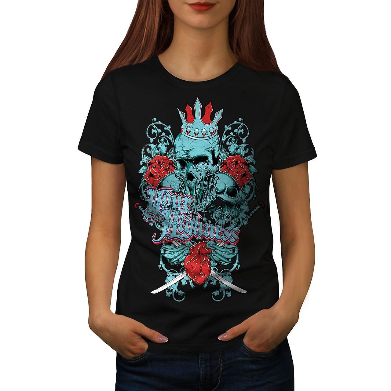 Your Highness King Skull Women Black T-shirt | Wellcoda