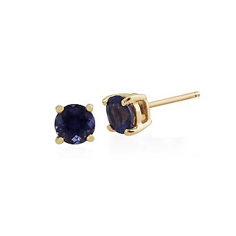 Gemondo Iolite Round Stud Earrings In 9ct Yellow Gold 3.50mm Claw Set