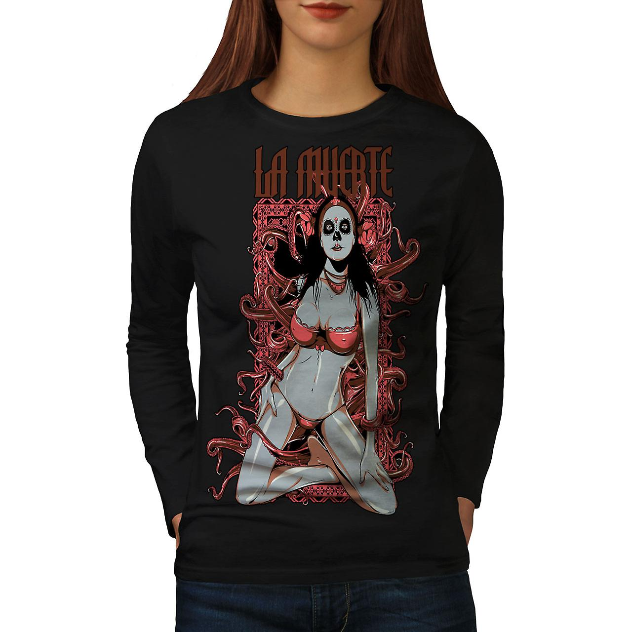 La Muerte Gangster Sexy femme Black T-shirt manches longues | Wellcoda