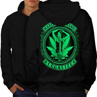 Organic Legalize Men BlackHoodie Back | Wellcoda