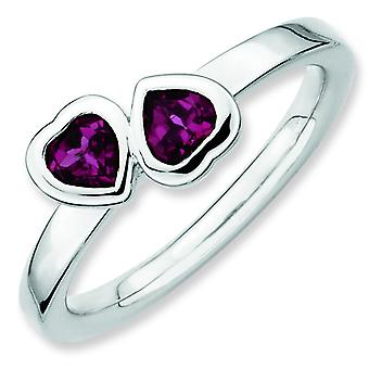 Sterling Silver Bezel Polished Rhodium-plated Stackable Expressions Rhodolite Garnet Double Heart Ring - Ring Size: 5 to
