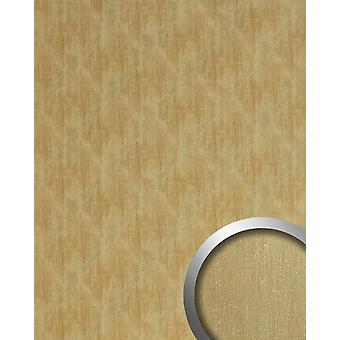 Wall Panel metal optics WallFace 20201 SLIGHTLY USED gold AR wall smooth in the used look brushed adhesive abrasion resistant gold brown beige 2,6 m2