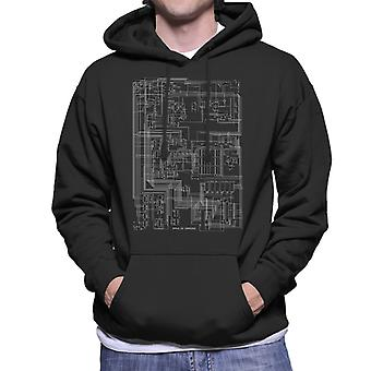Apple II Computer Schematic Men's Hooded Sweatshirt