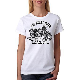 BSA komme væk med Motorclycle kvinders hvid T-shirt