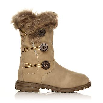 H047 Beige PU Leather Block Low Heel 3 Button Snow, Winter Boots