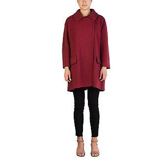 Miu Miu Women's Virgin Wool Single Breasted Tweed Trench Coat Red
