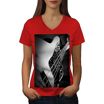 Bass Guitar Jazz Women RedV-Neck T-shirt | Wellcoda