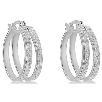 IBB London Stardust Double Creole Earrings - Silver