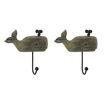 Aflito olhar de madeira 2 pedaço jorrando conjunto de gancho de parede de baleia