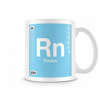 Element Symbol 086 Rn - Radon Printed Mug