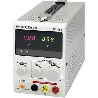 Basetech BT-153 Bench PSU (Voltages regelbaar) 0 - 15 0 Vdc - 3 a 45 W nr. van uitgangen 1 x