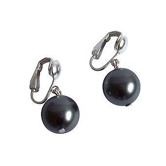 Gemshine - damer - øredobber - perle 925 sølv - 12 mm - Tahiti - grå-