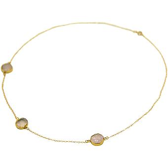 Gemshine - ladies - necklace - 925 sterling silver - gold plated - DRUZY - Rose Quartz - 50 cm