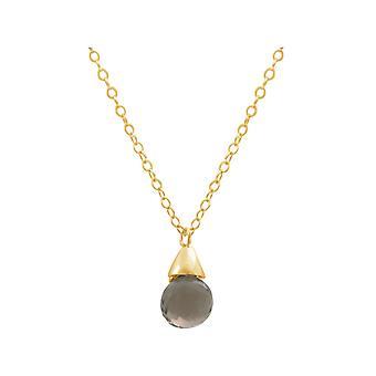 Gemshine - signore - pendente - collana - placcato oro - quarzo fumé - gocciolare - marrone - cm 45