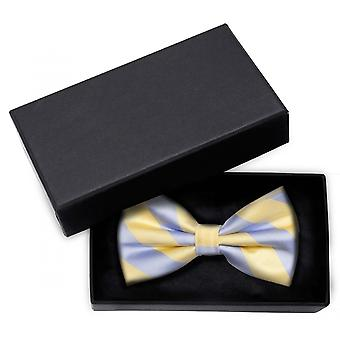Fly loop Fabio Farini bow tie blue pastel yellow striped fine shine