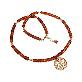 Amber necklace chain ladies gold plated yellow tree of life tree of life Brown
