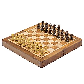 Deluxe Hardwood Folding Travel 7.5 inch Chess Set - Magnetic