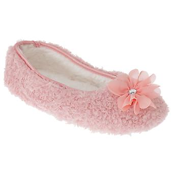 SlumberzzZ Womens/Ladies Fleece Flower Slippers