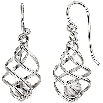 Earrings ball 925 Sterling Silver earrings Silver earrings moving balls