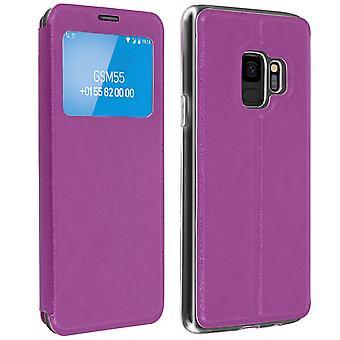 Window flip case, flip wallet case with stand for Samsung Galaxy S9 - Purple