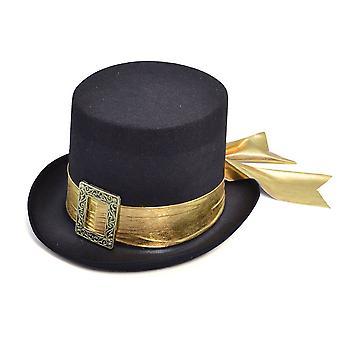 Hoge hoed, zwart met gouden riem