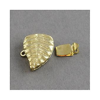 Packet 2 x Golden Brass Leaf Box Clasps 15 x 17mm Y04100