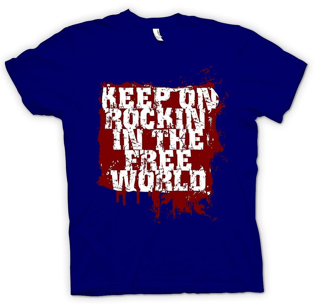 Heren T-shirt-Keep On Rockin In de vrije wereld