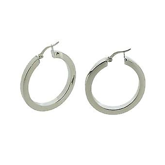 TOC Sterling Silver Large Hollow Creole Hoop Earrings 35mm