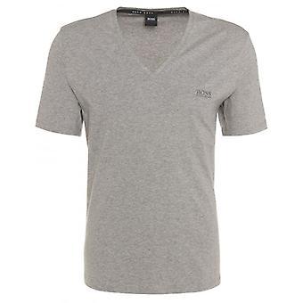 Boss Premium V-Neck Stretch Cotton T-Shirt, Marl Grey