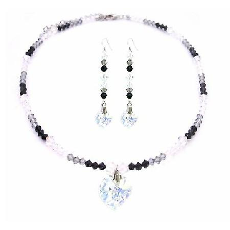 Sexy Seduction TriColor Jet AB & Black Diamond Crystals Heart Necklace