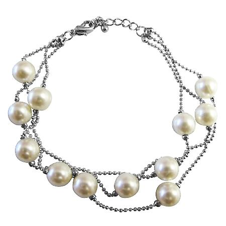 Three Stranded Ivory Simulated Pearls Beaded Bracelet w/ Lobster Clasp