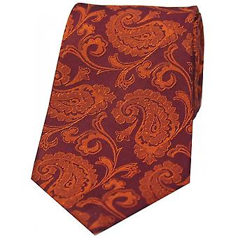 David Van Hagen Luxury Paisley Silk Tie - Rust Orange