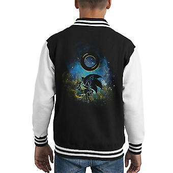 Sonic The Hedgehog And Ring Outline Kid's Varsity Jacket