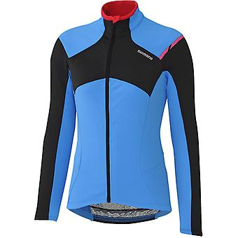Shimano Blue Performance Thermal Winter Womens Long Sleeved Cycling Jersey
