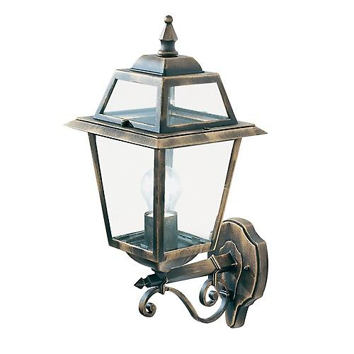 Searchlight 1521 New Orleans IP44 Black & Gold Outdoor Wall Uplighter With Clear Glass