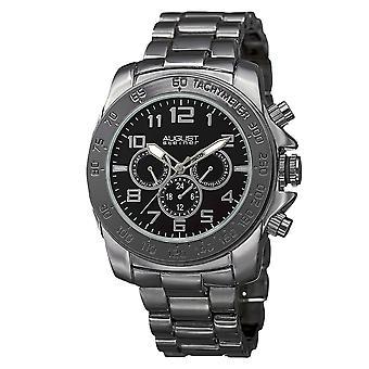 August Steiner Men's Swiss Quartz Multifunction Tachymeter Black Bracelet Watch AS8095BK