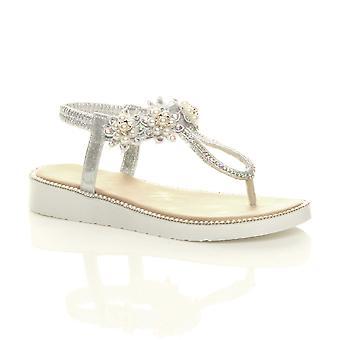 Ajvani Womens basso tallone diamante perla fiore di perla cuneo t-bar sandali slingback