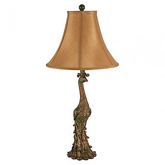 Premier Home Peacock Table Lamp, Polystone, Soie, Bronze