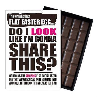 Lustige flache Ostern Ei Schokolade Bar Grußkarte Geschenk Männer Frauen Freund UK EIYF148